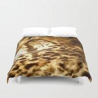 cheetah Duvet Covers featuring Cheetah by Tea and Roses