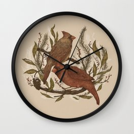 Wintery Cardinals Wall Clock