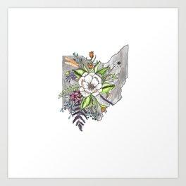 Floral Ohio Watercolor Art Print