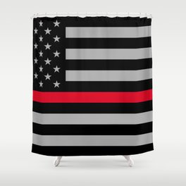 Red Lives Matter, Thin Red Line Shower Curtain