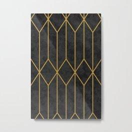 Geometric Seamless Black Gold Vintage Pattern (Style of 1920s) II Metal Print