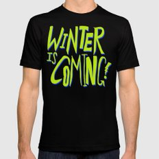 Winter is Coming LARGE Black Mens Fitted Tee