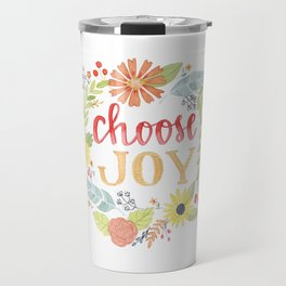 Choose Joy | Floral Feather Berries Rosehips Leaves Border Travel Mug