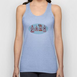 Bird Cages on Blue Unisex Tank Top
