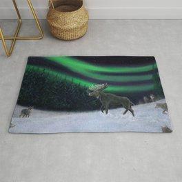 Northern Lights Moose Hunt Rug