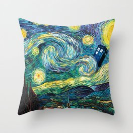 Tardis Art Starry Painting Night Throw Pillow
