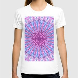 Delicate mandala in light pink and blue tones T-shirt