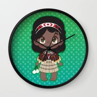 maori Wall Clocks featuring Little Maori Doll by Cute Galaxy