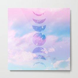 Unicorn Pastel Clouds Moon Phases #1 #decor #art #society6 Metal Print