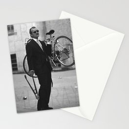 Bill F Murray stealing a bike. Rushmore production photo. Stationery Cards