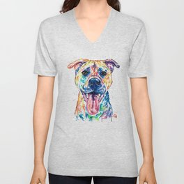 Bullmastiff Watercolor Colorful Pet Portrait Painting, Dog Painting, Mastiff Unisex V-Neck