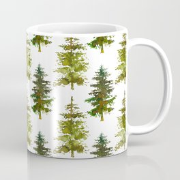 Hand painted green forest green watercolor trees motif Coffee Mug