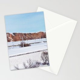 Perce Rock in the Snow Stationery Cards
