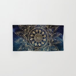 Elegant Gold Mandala Blue Galaxy Design Hand & Bath Towel