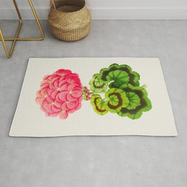 Vintage Botanical Illustration Beautiful Pink Flower Lush Green Leaves Scientific Floral Drawing Rug