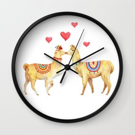 Llamas in llove 1 Wall Clock