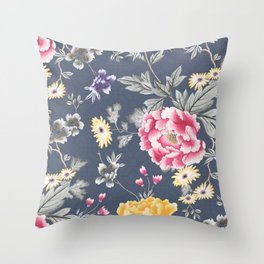 Charcoal Chintz Classic Pattern Throw Pillow