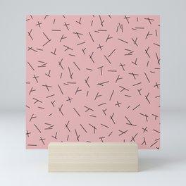 Abstract criss cross stripes irregular minimal lines pink Mini Art Print