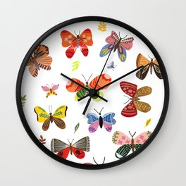 Butterfly Illustration Watercolor Wall Clock