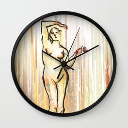 She Grieves, Standing Nude Wall Clock