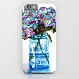 Watercolor Hydrangeas in Blue Mason Jar iPhone Case