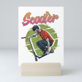 Funny Scooter Kid Riding Tricks Obsessed Mini Art Print
