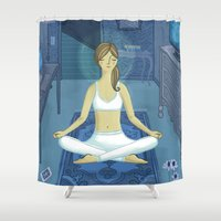 meditation Shower Curtains featuring Meditation by Anne Was Here