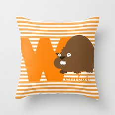 w for wombat Throw Pillow
