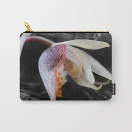 Albino Calypso Orchid in Selective Black and White Carry-All Pouch
