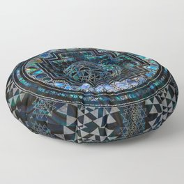 Sri Yantra  / Sri Chakra Abalone Shell and Silver Floor Pillow