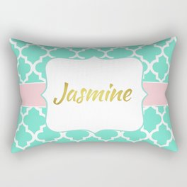Mint Moroccan Print with Baby Pink Accents and Gold Monogram Rectangular Pillow