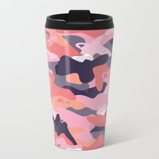 Pink camouflage Metal Travel Mug
