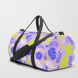 Purple & Neon Green Tropical Foliage Duffle Bag