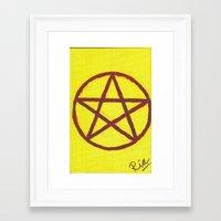 pentagram Framed Art Prints featuring Pentagram by Ria-Ra
