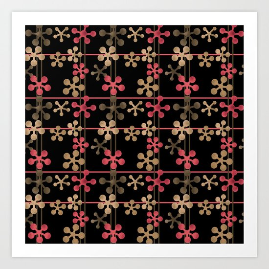 Abstract pattern in black red and brown tones . Art Print
