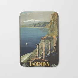 Vintage Taormina Sicily Italian travel ad Bath Mat