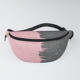 Pretty Girly Pink Black Faux Glitter Brushstroke Fanny Pack