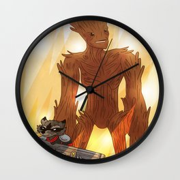 A RACOON AND A TREE Wall Clock