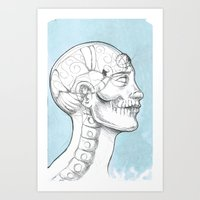 grid Art Prints featuring Grid by isberg illustration