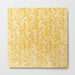 Boho Mudcloth Pattern, Summer Yellow Metal Print