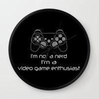 video game Wall Clocks featuring Video Game Enthusiast  by bitobots
