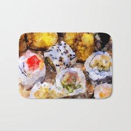 Sushi board - watercolor Bath Mat