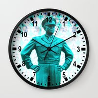 general Wall Clocks featuring general, Eisenhower by seb mcnulty