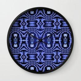 Indigo Lavender Glossy Floral Pattern Wall Clock