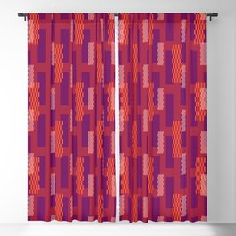 pixel brick geometric pattern_hibiscus,violet Blackout Curtain
