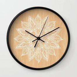 Leaf mandala - wood Wall Clock