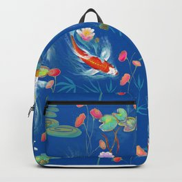 Blue Japanese Water Garden Backpack