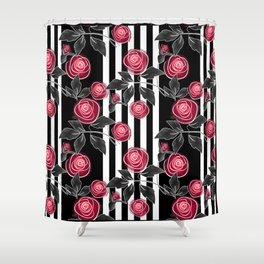 Red roses on black and white striped background. Shower Curtain