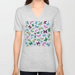 Pink, Purple & Blue Trendy Butterfly Pattern Unisex V-Neck