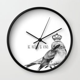 Bird and Quote by Magda Opoka | Animals | Painting | Illustration Wall Clock